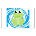Frog on Blue Swirl Sticker