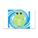 Frog on Blue Swirl Rectangle Car Magnet