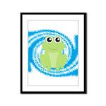 Frog on Blue Swirl Framed Panel Print