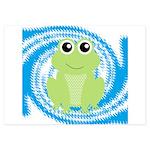 Frog on Blue Swirl Invitations