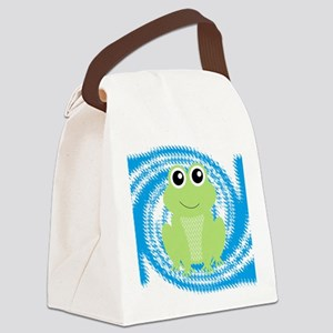 Frog on Blue Swirl Canvas Lunch Bag