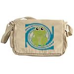 Frog on Blue Swirl Messenger Bag