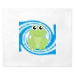 Frog on Blue Swirl King Duvet