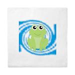 Frog on Blue Swirl Queen Duvet