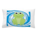 Frog on Blue Swirl Pillow Case