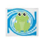 Frog on Blue Swirl Throw Blanket