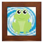 Frog on Blue Swirl Framed Tile