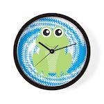 Frog on Blue Swirl Wall Clock