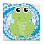 Frog on Blue Swirl Tile Coaster