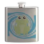 Frog on Blue Swirl Flask