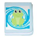 Frog on Blue Swirl baby blanket