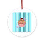 Pink Cupcake Love Ornament (Round)