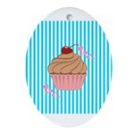 Pink Cupcake Love Ornament (Oval)