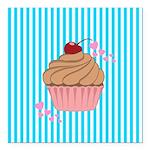 Pink Cupcake Love Square Car Magnet 3