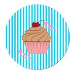 Pink Cupcake Love Round Car Magnet
