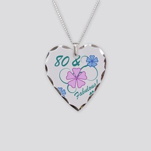 Fabulous 80th Birthday Necklace Heart Charm