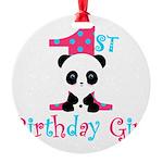 1st Birthday Girl Panda Bear Ornament