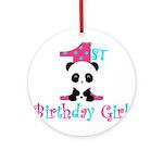 1st Birthday Girl Panda Bear Ornament (Round)