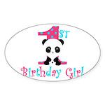 1st Birthday Girl Panda Bear Sticker
