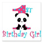 1st Birthday Girl Panda Bear Square Car Magnet 3