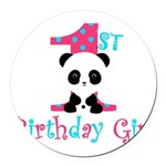 1st Birthday Girl Panda Bear Round Car Magnet