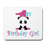 1st Birthday Girl Panda Bear Mousepad