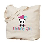 1st Birthday Girl Panda Bear Tote Bag