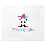 1st Birthday Girl Panda Bear King Duvet
