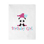 1st Birthday Girl Panda Bear Twin Duvet