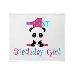 1st Birthday Girl Panda Bear Throw Blanket