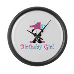 1st Birthday Girl Panda Bear Large Wall Clock