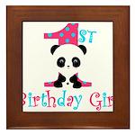 1st Birthday Girl Panda Bear Framed Tile