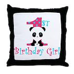 1st Birthday Girl Panda Bear Throw Pillow