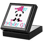 1st Birthday Girl Panda Bear Keepsake Box