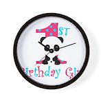 1st Birthday Girl Panda Bear Wall Clock