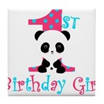 1st Birthday Girl Panda Bear Tile Coaster