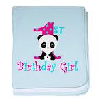 1st Birthday Girl Panda Bear baby blanket