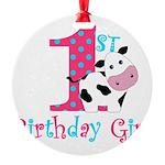 1st Birthday Girl Cow Ornament