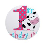 1st Birthday Girl Cow Ornament (Round)