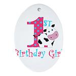 1st Birthday Girl Cow Ornament (Oval)
