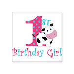 1st Birthday Girl Cow Sticker