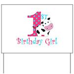 1st Birthday Girl Cow Yard Sign