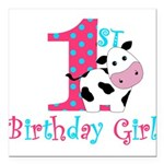 1st Birthday Girl Cow Square Car Magnet 3