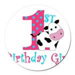 1st Birthday Girl Cow Round Car Magnet