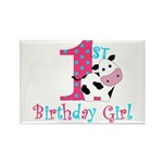 1st Birthday Girl Cow Magnets