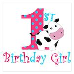 1st Birthday Girl Cow Invitations