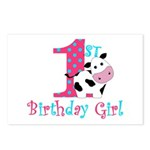 1st Birthday Girl Cow Postcards (Package of 8)