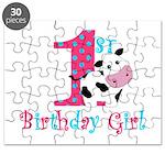1st Birthday Girl Cow Puzzle