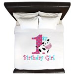 1st Birthday Girl Cow King Duvet