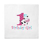 1st Birthday Girl Cow Queen Duvet